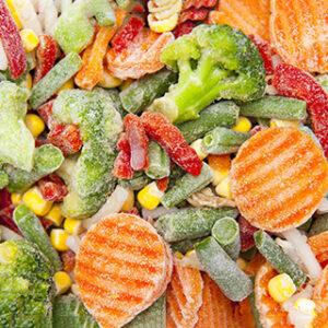 Batata e vegetais congelados